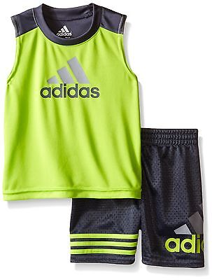 adidas Baby Boys' Tank and Active Short Set, Semi Solar Slime, 3 Months