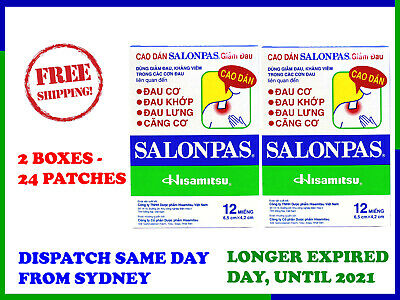 Salonpas Pain Relieving Patch Hisamitsu -  2 Boxes 24 Patches - Free Shipping