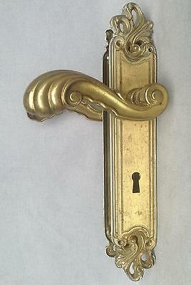 Vintage door handles set, knob late 1900's made of brass mansion castle
