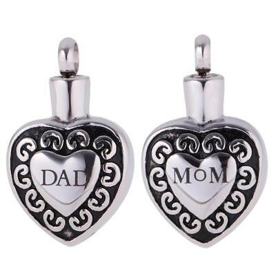 DAD/MOM Stainless Steel Cremation Ash Holder Urn Memorial Pendant DIY Necklace