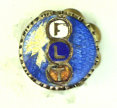 Antique Sterling Silver Enamel Round Order of Odd Fellows Lapel Pin As Is  #N959
