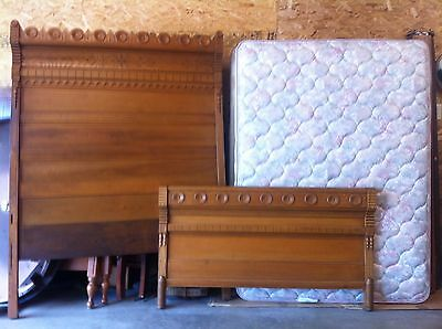 1800's? Antique solid oak compl high back bed w box spring & mattress