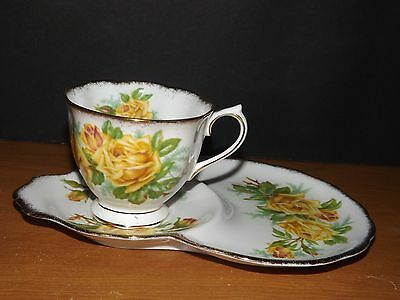 Yellow Tea Rose Royal Albert Snack Set Tennis Luncheon Plate Tea Cup