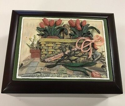 NWOT Pat Richter 2001 3D Flower Basket Music Jewelry Box By Gift Of Sound LLC