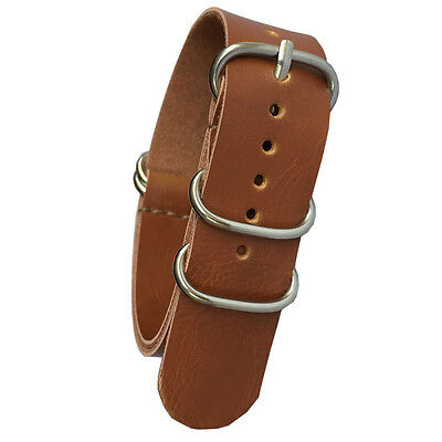 Brown 18mm 20mm 22mm Stainless Buckle Nato Leather Watch Strap Band Watchband