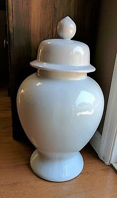 "Large White Glaze Ginger Jar 19 1/2"" Tall! No Chips!"
