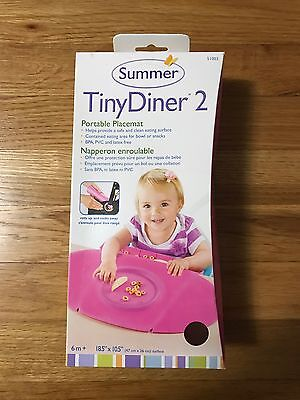 NEW NIB Summer Infant Tiny Diner 2 Portable Placemat, Pink Baby Girl 6M+