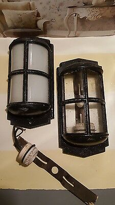Antique Wrought iron black with white glass wall ceiling light fixture