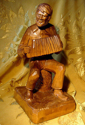 """LARGE """"ACCORDION PLAYER"""" WOOD CARVING by ARTIST CARON from QUEBEC 11"""" TALL"""