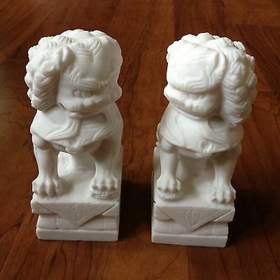 Chinese Hand Carved White Marble Stone Foo Dog Statue Pair