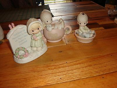 Precious Moments-3 Figurines-Angel In Egg Nog Cup Memories And 1 Life To Offer