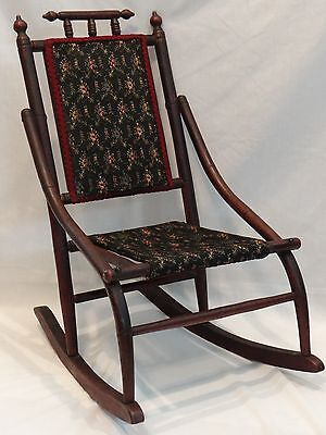 Antique 19 C. Child Doll Rocking Chair Carpet Rocker Eastlake Victorian Oak