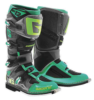 Gaerne SG-12 Leather Motocross MX Riding Boots [Turquoise/Lime, Size 11]