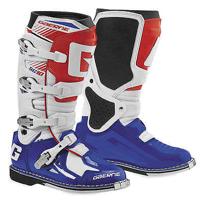 Gaerne SG-10 Leather Motocross MX Boots - 2016/17 [White/Blue/Red, Size 14]