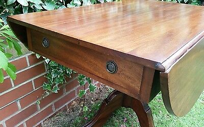 Victorian Mahogany SofaTable/Side Table with Long Drawer & column centre base