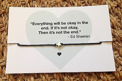 Ed Sheeran Quote Card Bracelet Silver Star