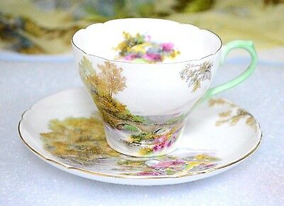 Shelley Heather Landscape Pattern Green Trim 13419 Cup Saucer