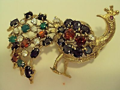 Gorgeous Peacock Pin Brooch Loads Faceted Bright Gemstones set in Gold