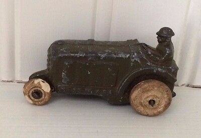 Vintage 1930's Metal Tractor Slush Toy- Signed Made In Usa- Army