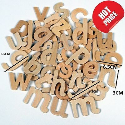 60 Craft Alphabet Wooden Lower Case Letters Educational Learning Set Font ABC