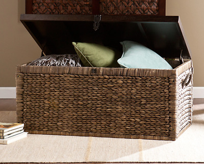 Woven Wicker Storage Chest and Table with Lid Trunk Bin Basket Wooden Rustic Set