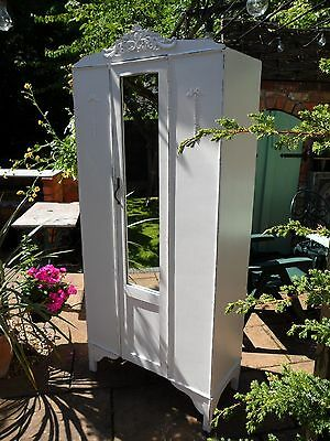 Adorable Petite Vintage Painted Victorian Style Mirrored Wardrobe Shabby Chic