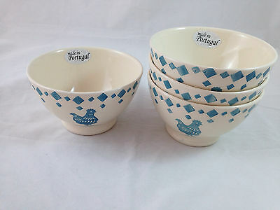 """Primagera Portugal Blue Rooster Cereal Bowls (4)  5.5"""" NWT"""