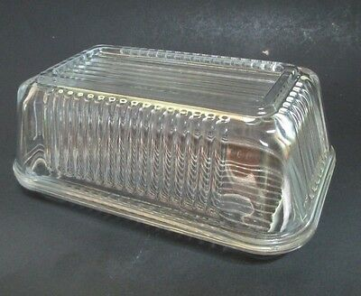 Pasabahce Covered Butter Dish Ribbed Clear Glass One Pound Refrigerator