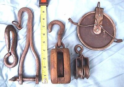 Antique Primitive Pulleys and Hooks Industrial Hardware Farm Barn Blacksmith