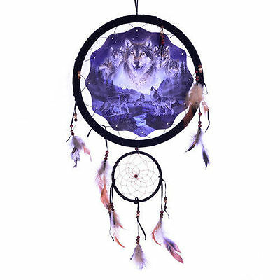 "Dream Catcher Wall Art Wolves At River, Nature Forest, 13"" Native American Look"