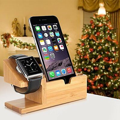 Apple Watch 1/2 Charging Station Bamboo iPhone 7/7 Plus Dock Stand 3 USB Ports