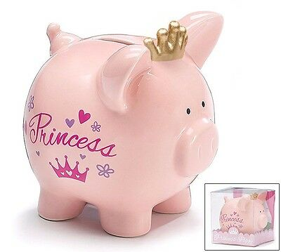 Bank Coin Pink Piggy Bank Princess Crown, Gift For Girl Or Baby Gift Boxed