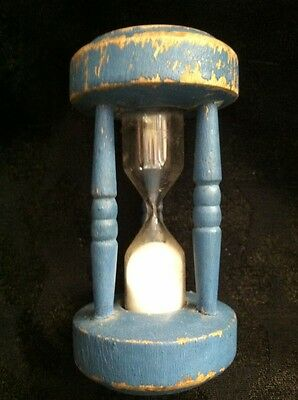 Vintage Primitive Kitchen TIMER Sand Glass  Blue Wood Chippy Collectible