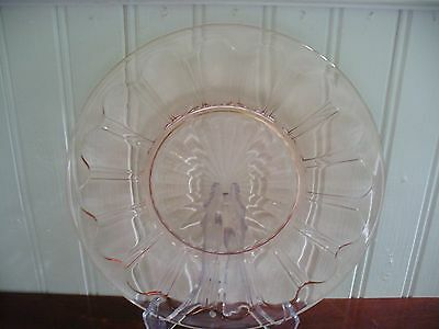 """1934 Anchor Hocking Colonial Knife & Fork Pink Depression Glass 8.25"""" Plate"""