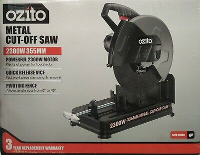 Ozito 2300W 355mm Abrasive Metal Steel Cut Off Drop Chop Saw - 3yr Replace Wty