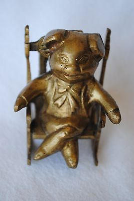 """Vintage Small Brass Pig Figurine in Rocking Chair 2.5"""" Tall"""