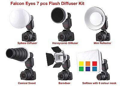 Falcon Eyes 7pc Flash Speedlite Diffuser Modifier kit with Canon/ Nikon Adapter