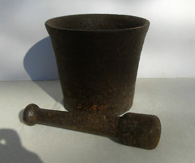 Antique Primitive Solid Cast Iron Mortar and Pestle Apothecary VERY HEAVY