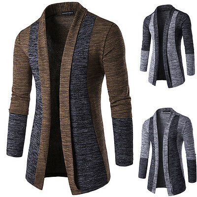 Hot Winter Men's Solid Color Long Sleeve Slim Fit Knitted Cardigan Sweater PE
