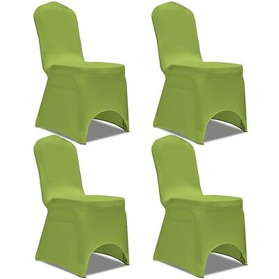 4 pcs Stretch Chair Seat Cover Protector Dining Room Party Wedding Banquet Green