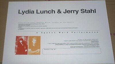Lydia Lunch + Jerry Stahl MEGA-RARE LIVE TOUR POSTER Joint Spoken Word Tour