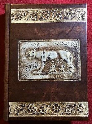 Roman Wolf Embossed Dark Brown Leather Cover Blank Book Journal - Blank Pages