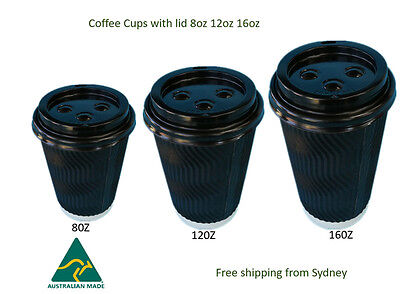 Disposable Coffee Cups 8oz 12oz Takeaway Paper Triple Wall Take Away Bulk