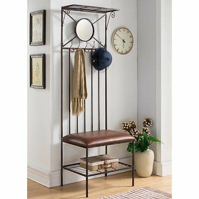 Belknap Hall Tree, Brushed Copper Metal Frame, Storage, 73''H x 24.5'' W x 19''D