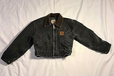 CARHARTT Kids sz XS (4/5) Black Denim Fleece Lined Work Jacket Coat E4