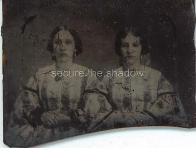 AMBROTYPE Fragment:TWO Lovely YOUNG WOMEN w IDENTICAL HAIRDOS Earrings & DRESSES