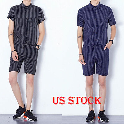 Men's Short Sleeve Striped Rompers Slim Fitted Jumpsuit Overalls M-3XL US Stock