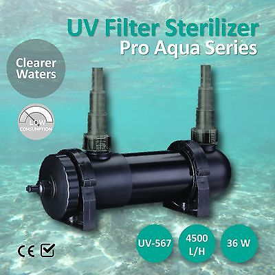 UV Filter Sterilizer Light 36W 4500L/H Aquarium Fish Tank Pond Water Marine Aqua