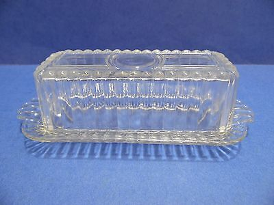 Vintage Pressed Glass Butter Dish & Cover Lidded Clear Holds 1 Stick