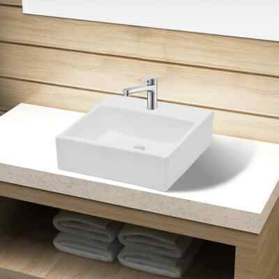 Ceramic Bathroom Sink Basin with Faucet Hole White Square Washroom Powder Room